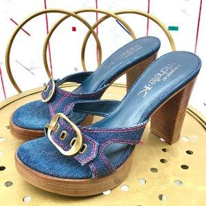 Vintage Y2K Skechers Michelle K Denim Buckle Heels